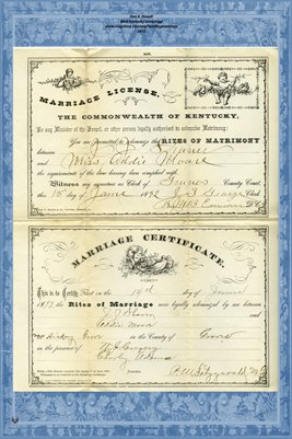 1892 Marriage License and Certificate for J.J. Shaver(?) and Miss Addie Moore, Graves County, Kentucky