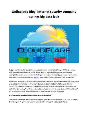 Online Info Blog: Internet security company springs big data leak