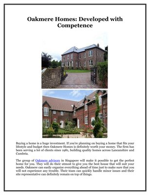 Oakmere Homes: Developed with Competence