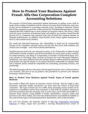 How to Protect Your Business Against Fraud: Alfa One Corporation Complete Accounting Solutions
