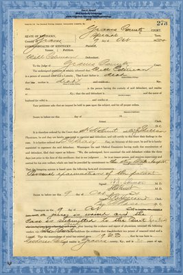 1924 State of Kentucky vs. Will Coleman, Graves County, Kentucky