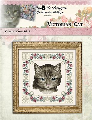 Victorian Cat Cross Stitch Pattern