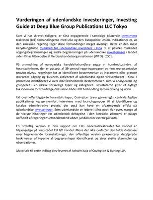 Vurderingen af udenlandske investeringer, Investing Guide at Deep Blue Group Publications LLC Tokyo