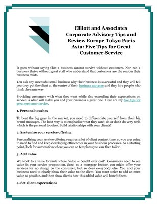 Elliott and Associates Corporate Advisory Tips and Review Europe Tokyo Paris Asia: Five Tips for Great Customer Service