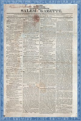 (PAGES 1-2) May 30, 1817, SALEM GAZETTE, Salem, Massachusetts