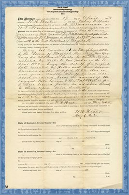 1893 Mortgage, W.H. Hester - H. J. Mooreman & W.F. Housman, Graves County, Kentucky