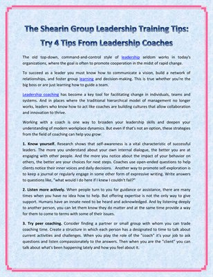 The Shearin Group Leadership Training Tips: Try 4 Tips From Leadership Coaches