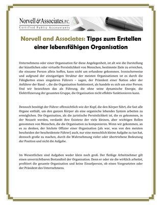 Norvell and Associates: Tipps zum Erstellen einer lebensfähigen Organisation