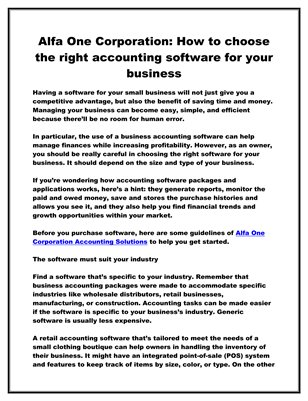 Alfa One Corporation: How to choose the right accounting software for your business