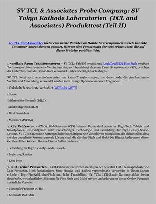 SV TCL & Associates Probe Company: SV Tokyo Kathode Laboratorien  (TCL and Associates) Produkttest (Teil II)