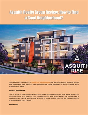 Asquith Realty Group Review: How to Find a Good Neighborhood?