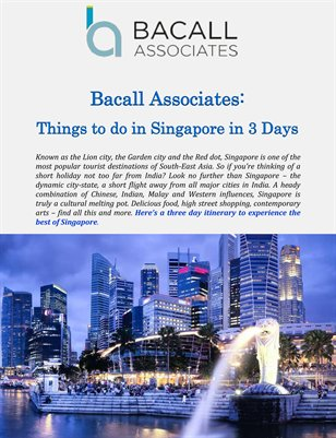 Bacall Associates: Things to do in Singapore in 3 Days
