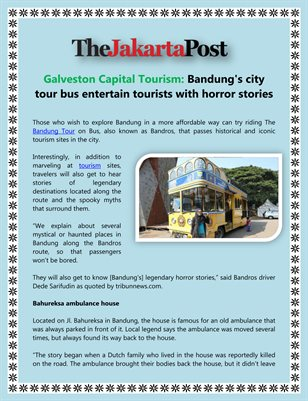 Galveston Capital Tourism: Bandung's city tour bus entertain tourists with horror stories