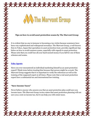 Tips on how to avoid asset protection scams by The Marvont Group