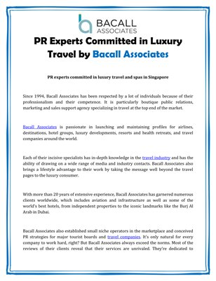 PR Experts Committed in Luxury Travel by Bacall Associates