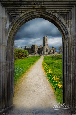 """Path to Quin Abbey, County Clare, Ireland""  Irish Poster"