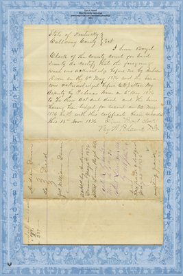 1876 Deed, Doren to Doren, Calloway County, Kentucky
