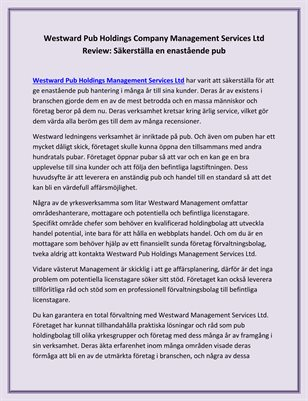 Westward Pub Holdings Company Management Services Ltd Review: Säkerställa en enastående pub