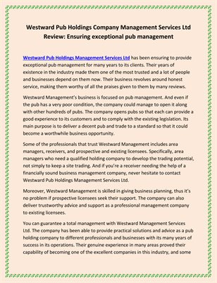 Westward Pub Holdings Company Management Services Ltd Review: Ensuring exceptional pub management