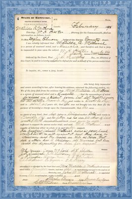 1898 State of Kentucky vs. Matilda A. Motheral, Graves County, Kentucky