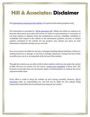 Hill & Associates: Disclaimer