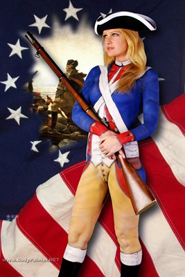Military Body Painting Poster - Revolutionary War