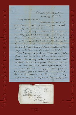 1862 LETTER FROM JAMES EDWARDS OF WASHINGTON CITY, D.C. TO COUSIN JOHN EDWARDS OF PORTLAND MAINE