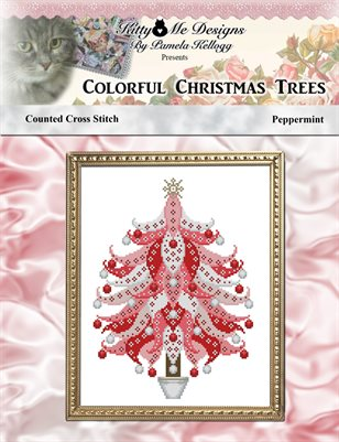 Colorful Christmas Trees Pepperment Cross Stitch Pattern