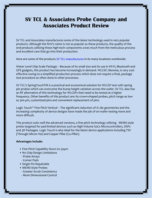 SV TCL & Associates Probe Company and Associates Product Review