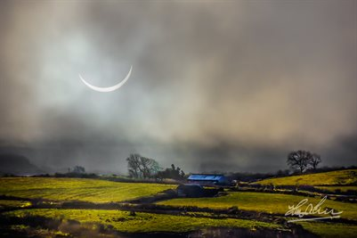 """Solar Eclipse Over Irish Countryside"" Ireland Poster Print"