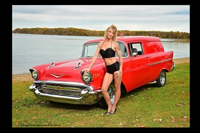 Model Shawna Roberts With Red Panel Wagon