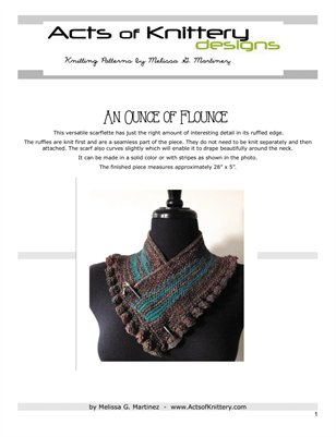An Ounce of Flounce Scarflette Knitting Pattern