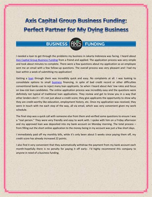 Axis Capital Group Business Funding: Perfect Partner for My Dying Business