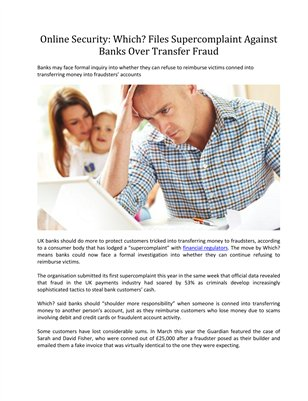 Which? Files Supercomplaint Against Banks Over Transfer Fraud - Online Security
