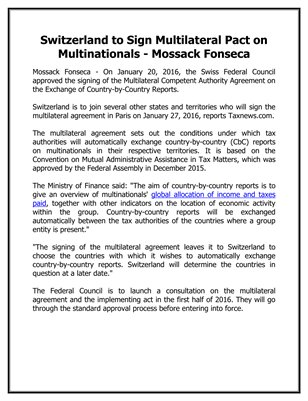 Switzerland to Sign Multilateral Pact on Multinationals - Mossack Fonseca