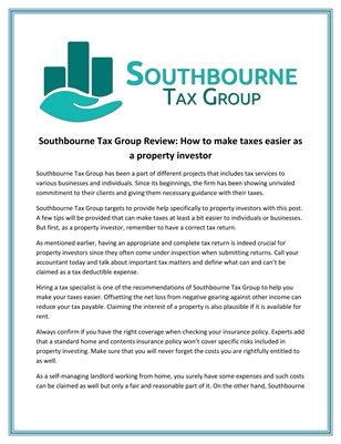 Southbourne Tax Group Review: How to make taxes easier as a property investor