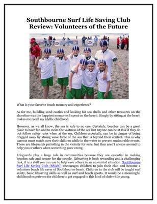 Southbourne Surf Life Saving Club Review: Volunteers of the Future