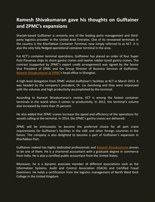 Ramesh Shivakumaran gave his thoughts on Gulftainer and ZPMC's expansions