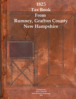 1825 Tax Book From Rumney, Grafton, New Hampshire