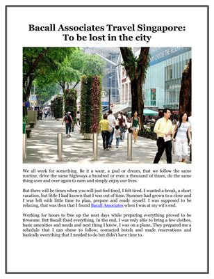 Bacall Associates Travel Singapore: To be lost in the city