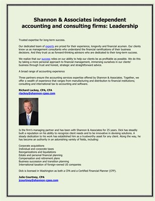 Shannon & Associates independent accounting and consulting firms: Leadership