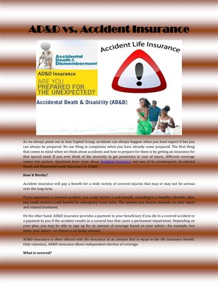 AD&D vs. Accident Insurance