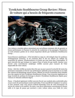 Tyre&Auto Southbourne Group Review: Pièces de voiture qui a besoin de fréquents examens
