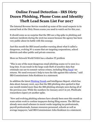 Online Fraud Detection - IRS Dirty Dozen Phishing, Phone Cons and Identity Theft Lead Scam List For 2017