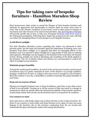 Tips for taking care of bespoke furniture - Hamilton Marsden Shop Review
