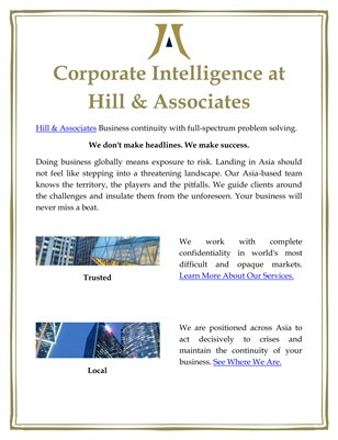 Corporate Intelligence at Hill & Associates