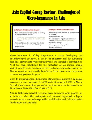 Axis Capital Group Review: Challenges of Micro-insurance in Asia