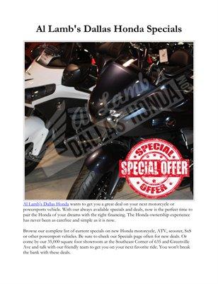 Al Lamb's Dallas Honda Specials