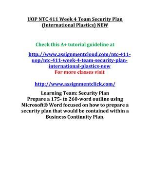 UOP NTC 411 Week 4 Team Security Plan (International Plastics) NEW