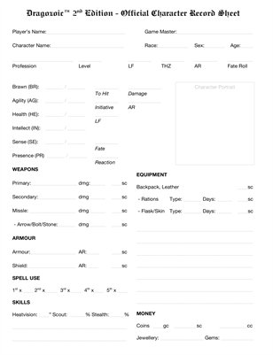 Dragozoic RPG Character Record Sheet